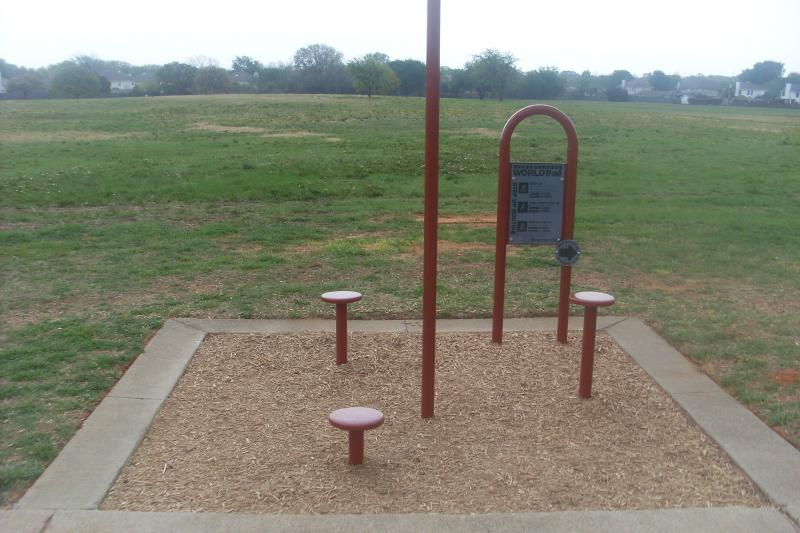 S.J.Stovall Park W-20 Trail Installation. Playworld Step-up Station